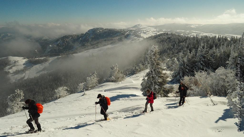 Raquette à neige sur le plateau ardéchois